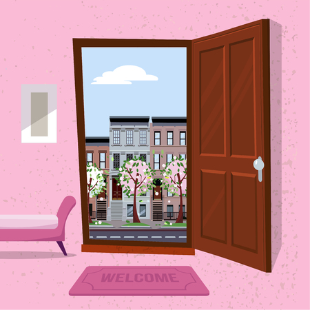 interior of hallway with open wood door overlooking sping cityscape with houses and blooming trees. Furniture inside Soft bench, picture, mat against a textured wall. Flat cartoon vector illustration Illustration