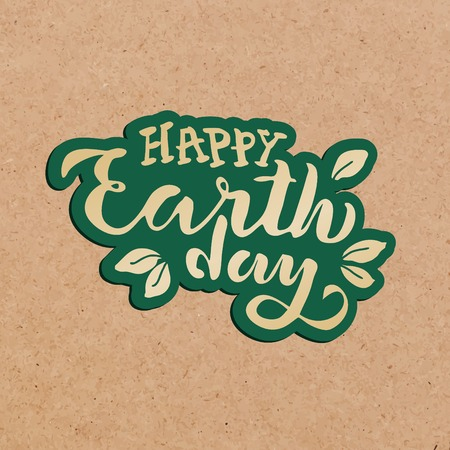 Handwritten lettering text 'Happy Earth Day'. Vector sketched text for postcard banner template. typography for eco friendly ecology concept. World environment background. illustration cork background