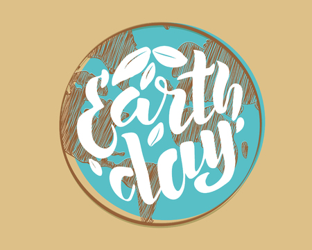 Handwritten lettering text Happy Earth Day. Vector sketched text for postcard banner template. typography for eco friendly ecology concept. World environment background. Vector illustration.