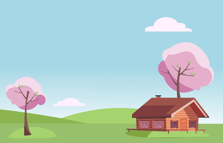 Vector flat fair weather spring landscape with small country wooden house and blooming pink trees on the green grass hills. Warm spring background in cartoon style. Free space for your text