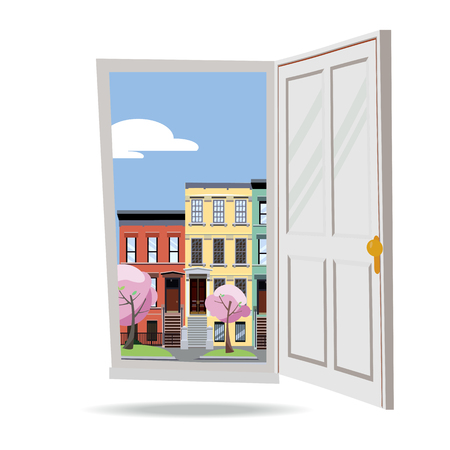Open door into spring city view with blooming pink trees on white background. Flat cartoon style vector illustration. Three-four-story uneven colorful town houses outside. Street cityscape.