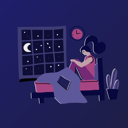 Woman with insomnia. Modern hand drawn flat concept with sad unhappy young woman sitting on a bed at Night. Sleepless girl. Vector flat cartoon illustration on dark blue background