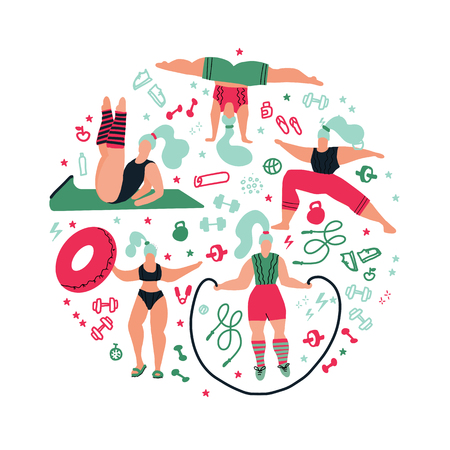 Round shape composition Women doing sports.Poses of yoga, exercises for health, fitness, swimming. Cute girls vector flat illustration. Workout in the gym on white background. Fitness for every woman