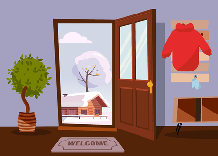 The interior of hallway in flat cartoon style with open door overlooking winter landscape with old house, tree. Inside house there is furniture - hanger with coat, stack, shelves, entrance mat, plant