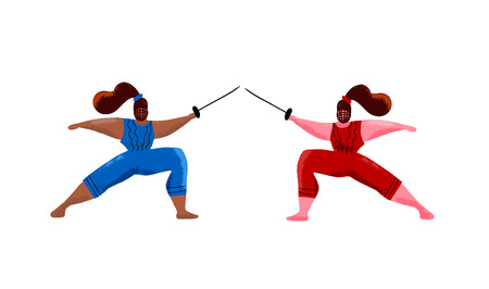 Fencing women mask training duel, swordswoman gym activity hand drawn cartoon illustration. Black and white girls doing rapier fencing, sword fighting.Two fencing famale athletes. Flat textured vector