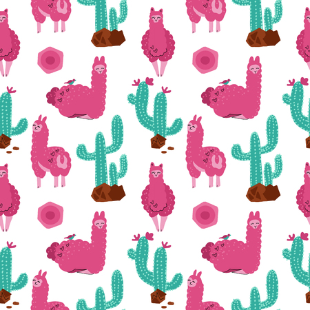 Cute pink alpaca with cacti seamless pattern on white background. Vector baby animal illustration for kids. Child drawing style lama. Flat Design for fabric, wallpaper, textile and decor.