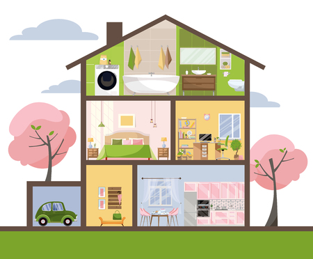 House in cut. Detailed interior. Set of rooms with furniture. Cross section with bedroom, living room, kitchen, dining, bathroom, nursery, garage. Home inside. Flat cartoon style vector illustration. Çizim