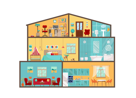 Hausmodell von innen. Detailliertes Interieur mit Möbeln und Dekor im flachen Vektorstil. Großes Haus im Schnitt. Cottage Cutaway mit Innenausstattung von Schlafzimmer, Wohnzimmer, Küche, Esszimmer, Bad, Kinderzimmer Vektorgrafik