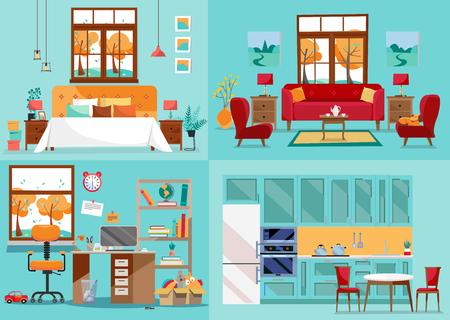 Casa interior 4 habitaciones. Vistas frontales interiores de cocina, sala de estar, dormitorio, guardería. Mobiliario de habitaciones interiores de la casa. Vista interior por concepto de decoración. Ilustración de vector de estilo de dibujos animados plana