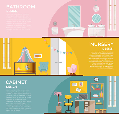 Set of colorful graphic room interiors:bathroom with toilet nursery with canopy, cupboard, home office with desk, Workplace Cabinet Room.3 Banners with home furniture. Flat cartoon vector illustration Archivio Fotografico - 122413135