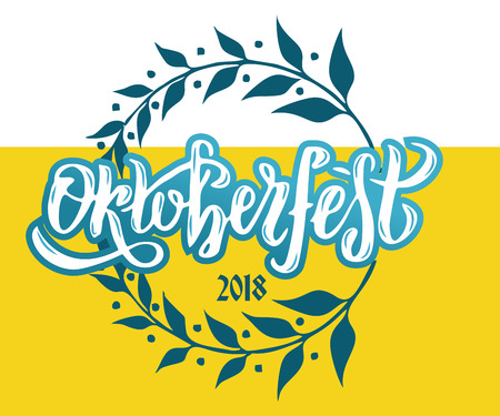 Vector illustration Oktoberfest 2018 celebration design. Lettering typography with floral wreath frame. Hand sketched Celebration icon.Beer festival decoration badge on yellow white beer background.