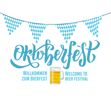 Willcommen zum Bierfest Welcome to beer festival Oktoberfest handwritten lettering on white background with Bavarian garland triangular tags and beer mug. banner typography for logo, poster, card Stock Illustratie