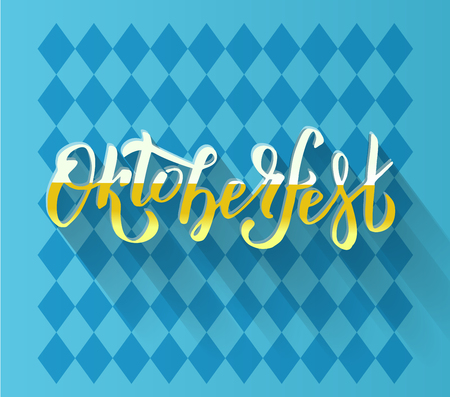 Oktoberfest handwritten lettering logotype on blue Bavarian pattern. Beer Festival vector banner. yellow white lettering typography for poster, card. Word is filled with foamy beer, cast long shadow