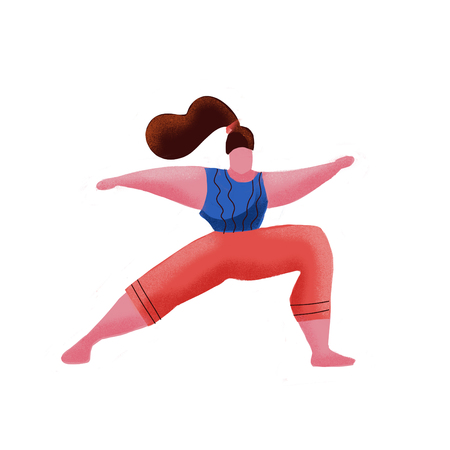 Cartoon hand drawn woman in yoga position in Warrior Pose. Fitness sport scene of yoga exercise. Positive inspirational banner plus size woman in gym, wearing yoga suit.Modern flat illustration. Stockfoto