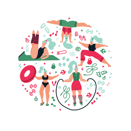 Round shape composition Women doing sports.Poses of yoga, exercises for health, fitness, swimming. Cute girls  flat illustration. Workout in the gym on white background. Fitness for every woman