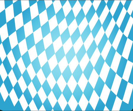 Texture of the Bavarian flag background. Oktoberfest background with blue white checkered three dimensional pattern. curved Bavarian volumetric flag. Vector illustration