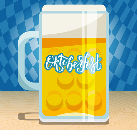 A large beer mug with hand drawn lettering Oktoberfest on the glass side. Flat illustration with pint on wooden table on blue Bavalian ornament background with shadows