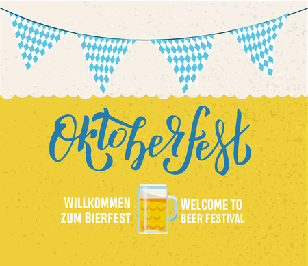 Willcommen zum Bierfest Welcome to beer festival Oktoberfest handwritten lettering on yellow beer textured background. with Bavarian garland triangular tags and beer mug. banner typography for poster