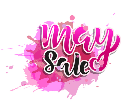 May sale flyer template with handwritten lettering. Poster, card, label, banner design. Bright and stylish sketched text. Vector illustration EPS10 Illustration