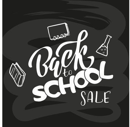 Hand sketched Back to school SALE lettering on black blackboard with picture of flask, books. Flat scratched Vector illustration. Sale banner template design, Big sale special offer.