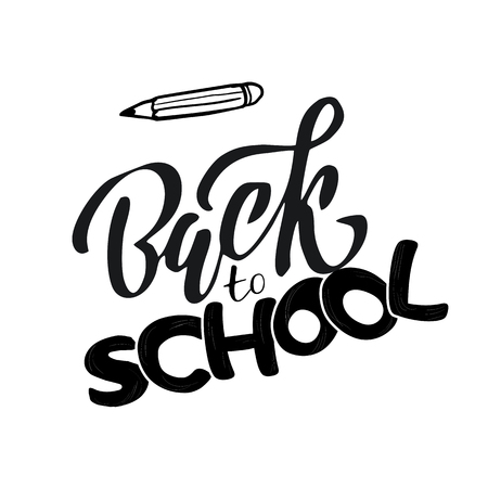 Hand sketched black color Back to school text letering on white background with drawn pencil. for logo, banner, flyer, template, greeting cards, posters, T-shirts,. Flat Vector illustration.