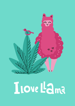 I love llama greening card with pink hand drawn alpaca with plant, bird and lettering qoute. 向量圖像