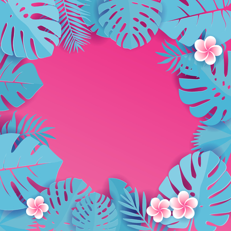 Abstract background with blue cyan tropical leaves. Jungle patternwith frangipani flowers. Floral caper cut design background. square illustration with space for text.Tropical greeting card.