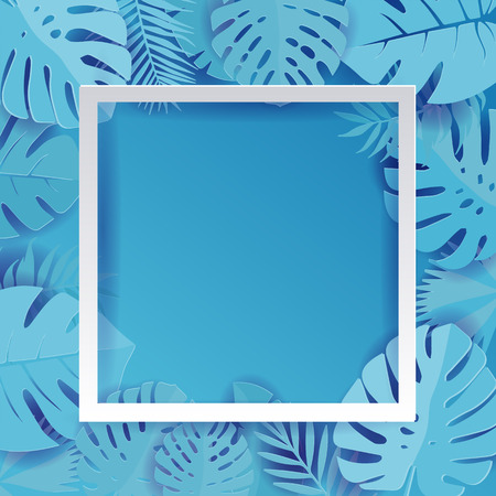 Blue Palm Leaf Background Illustration in paper cut style. Exotic tropical jungle rainforest bright cyan palm tree and monstera leaves border frame with a place for text. Aloha poster