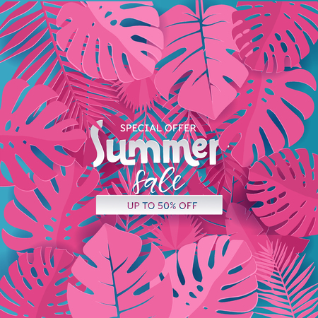 Square Composition with paper cut pink jungle leaves on blue background. Lettering text is hiding in Tropical exotic plants. Special offer up to 50 pecent off template for ad design, banner, flyer. 版權商用圖片 - 122496730