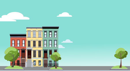 Summer in the city. Horizontal background with colorful cityscape with cozy green trees near two-storied houses. Banner with free space for text. Flat cartoon style illustration