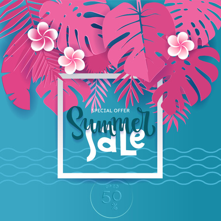 Square Summer Tropical palm monstera leaves in trandy paper cut style. White frame 3d letters SUMMER SALE hiding in exotic blue leaves on pink background for advertising. card illustration