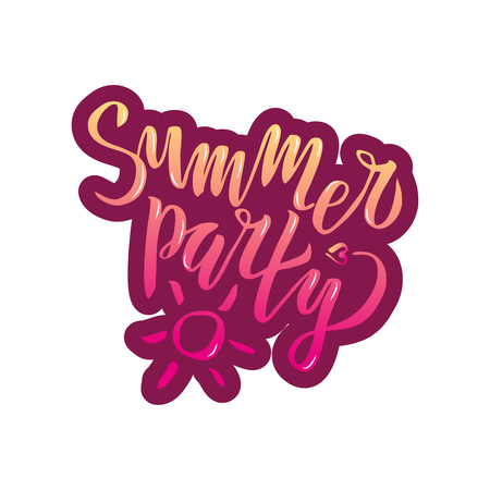 Summer party lettering Gradient Handwritten calligraphy, brush painted letters on white background. Inspirational text in vector illustration. Template for flyer, banner, poster, greeting card Illustration