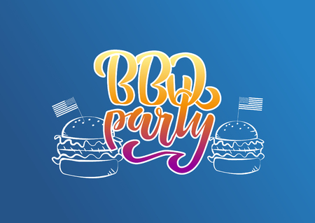July 4th BBQ Party lettering invitation to American independence day barbeque with decorations burgers and flags on blue background. Vector hand drawn illustration Illustration
