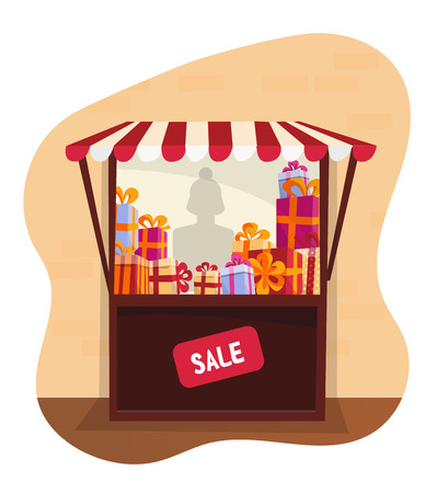 Showcase street festive tent with striped awning. Small street gift shop at Christmas Fair. Storefront with stacks of gifts for sale on white background. Lighting shop window .Flat cartoon vector? Stock Illustratie