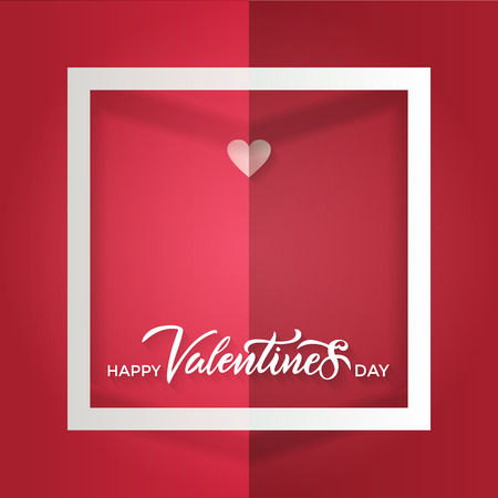 A folded red sheet with a white frame and a small paper heart with lettering inscription happy valentines day. Vector paper craft style. Bulk card, banner, greeting, advertising