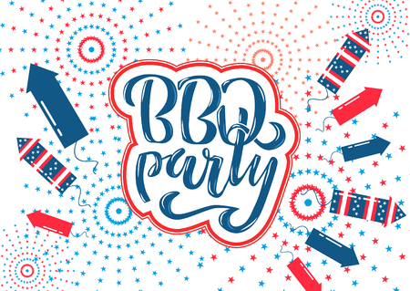 July 4th BBQ Party lettering invitation to American independence day barbeque with July 4th decorations, stars, flags, fireworks on blue background. Vector hand drawn illustration. Illustration