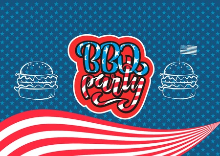 July 4th BBQ Party lettering invitation to American independence day barbeque with July 4th decorations, stars, flags, fireworks on blue background. Vector hand drawn illustration.
