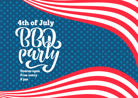 July 4th BBQ Party lettering invitation to American independence day barbeque with July 4th decorations, stars, flags, fireworks on blue background. Vector hand drawn illustration. Ilustração