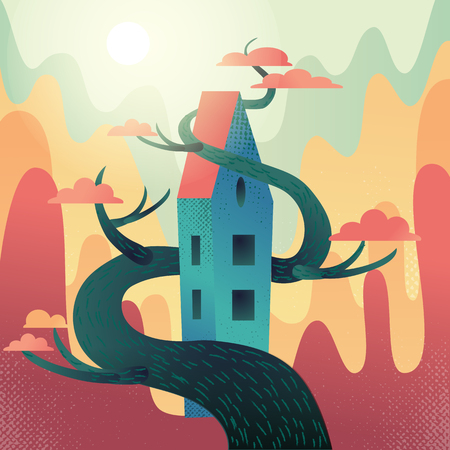 Fabulous house with roof, intertwined with tree on mountains,hills background. Autumn weather, warm fall sun shines, orange crowns. Square Flat cartoon vector illustration with textures and gradient