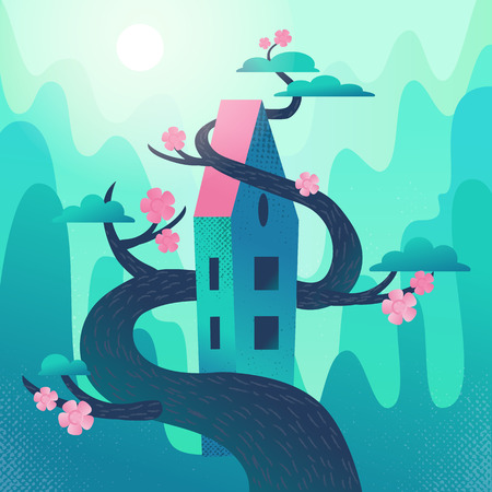 Fairytale house with roof, intertwined with tree on mountains,hills background. Cool Spring weather, pink glowers on blooming crowns. Square Flat cartoon vector illustration with textures and gradient