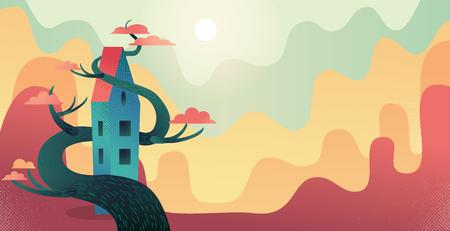 Herbsthintergrund mit märchenhaftem langem Haus, das mit hölzernem rotem Kronenbaum verflochten ist. Naturlandschaft mit mehreren Reihen sonnenbeschienener Hügel. Flache Cartoon-Vektor-Illustration mit Texturen und Farbverlauf