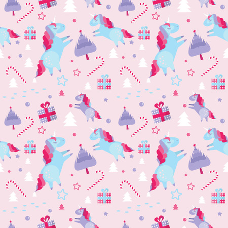 Christmas seamless pattern with unicorns, fir trees, candy cane, gift boxes on blue background. Holiday template with Xmas unicorn, festive flat cartoon elements. Design for wrapping, fabric, print.