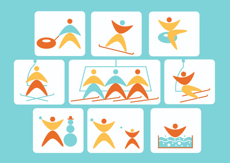 Collection of winter colorful linear navigation signs icons representing skiing and other winter outdoor activities, snowtubing, snowball, jacuzzi, snowboarding, snowman making,. Design for ski resort