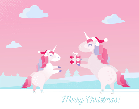 Greeting card with text Merry Christmas unicorn in Santa Claus cap gives present in box to unicorn child. Two unicorns are skating.Gentle colors. Flat cartoon illustration with textures and gradients
