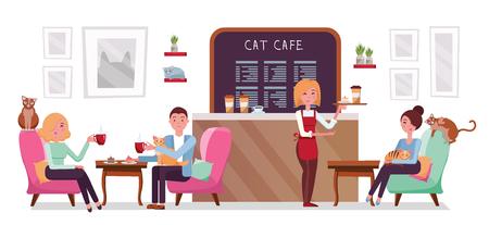 Katzencafé-Shop, Singles und Paare, die sich mit Kätzchen entspannen. Platzieren Sie das Interieur, um sich zu treffen, sich mit Haustieren auszuruhen, ein Serviertablett mit Kuchen und Kaffee.