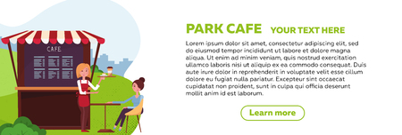 Horizontal web banner design for park cafe. Young girl waiter brought an order to client. small street coffee shop with awning in the city park. Place for drink coffee. Stock Illustratie