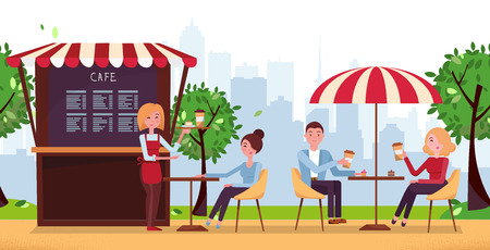 Park cafe with umbrella. People Drink Coffe in Outdoor Vector Street Cafe on Restaurant Terrace. Park with Outside Cafe in Urban City landscape.Couple on weekend date.