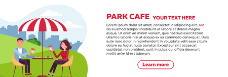 Vertical brochure design for park cafe. couple is relaxing in an outdoor cafe in city park on a grassy lawn under a striped parasol. People drink coffee and cakes. Standard-Bild - 122766552
