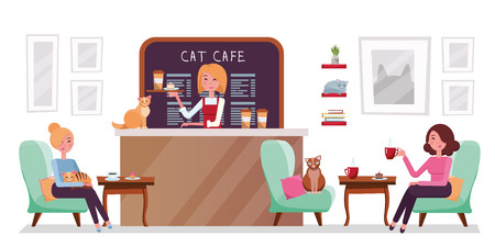 Cat cafe shop, people relaxing with kitties. Place interior to meet, drink and eat, chat, have a rest with pets, barista girl with tray with cake and coffee.