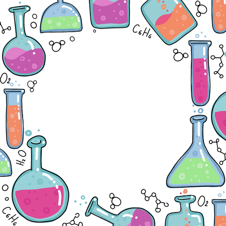 Chemistry Test tubes vector outlined sketch round frame. Kids Education illustration in thin line color doodle style. Set of Hand drawn round and square bulb with bubbled liquid on white background